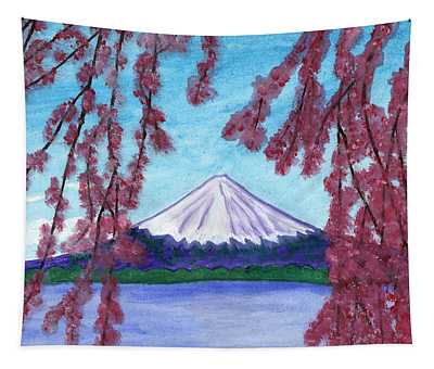 Fuji Mountain And Sakura Tapestry