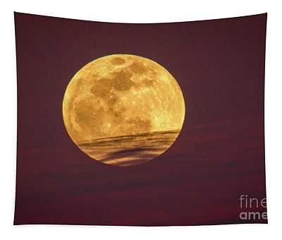 Full Moon Above Clouds Tapestry