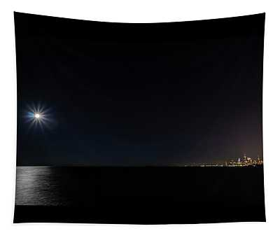 Full Moon And Tiny Chicago Skyline Tapestry