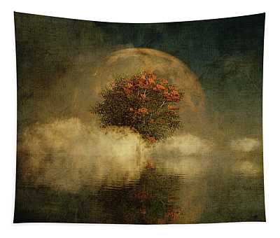 Full Moon Over Misty Water Tapestry