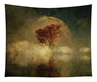 Tapestry featuring the digital art Full Moon Over Water by Jan Keteleer