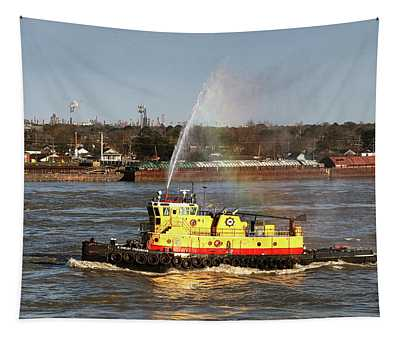 G. Shelby Friedrichs Tugboat On The Mississippi Tapestry
