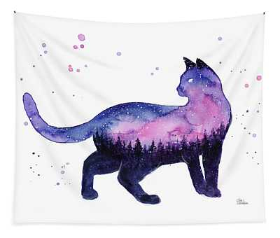 Galaxy Forest Cat Tapestry