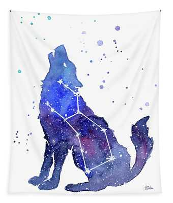 Galaxy Wolf - Lupus Constellation Tapestry