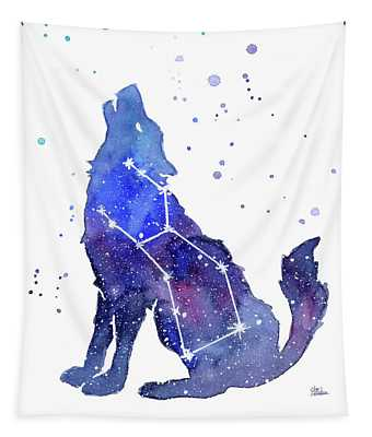 Galaxy Wolf - Lupus Constellation Tapestry