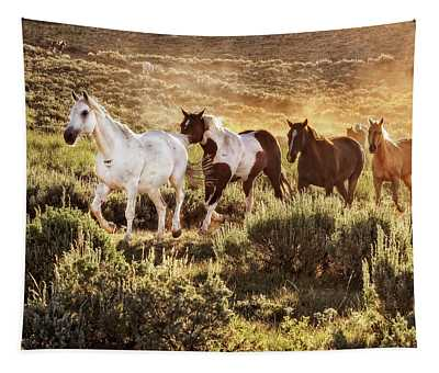 Galloping Down The Mountain Tapestry