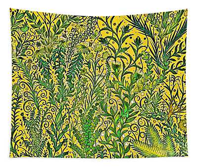 Garden In Mustard Yellow And Green Tapestry