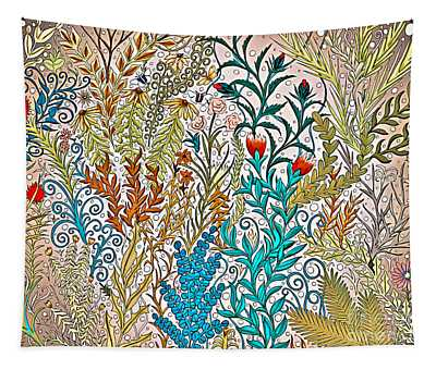 Garden Tapestry Design In Tan, Pink, Turquoise And Red Tapestry