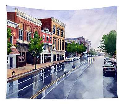Gaslights And Afternoon Rain Tapestry