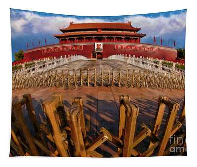 Gates Around Outer Court Of The Forbidden City Tapestry