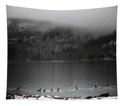 Geese On Mirror Lake Tapestry