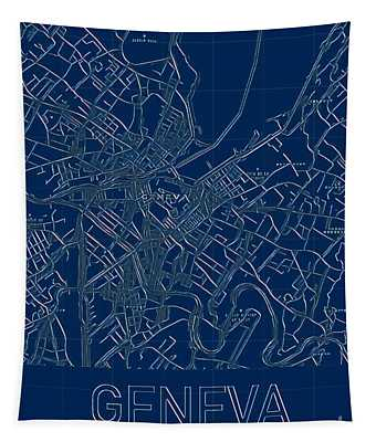 Geneva Blueprint City Map Tapestry