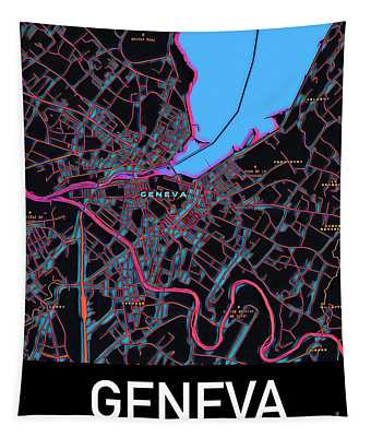 Geneva City Map Tapestry