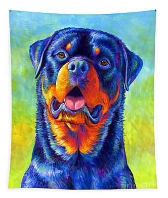 Gentle Guardian Colorful Rottweiler Dog Tapestry
