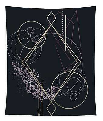 Geometric Abstraction Decorated With Flowers Tapestry