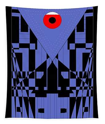 Geometric Red Dot  Tapestry