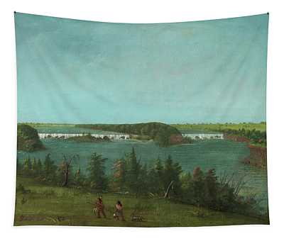 George Catlin -wilkes-barre, 1796-jersey City, 1872-. The Falls Of Saint Anthony -1871-. Oil On C... Tapestry