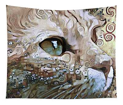 Ginger Cat Beige Abstract Tapestry
