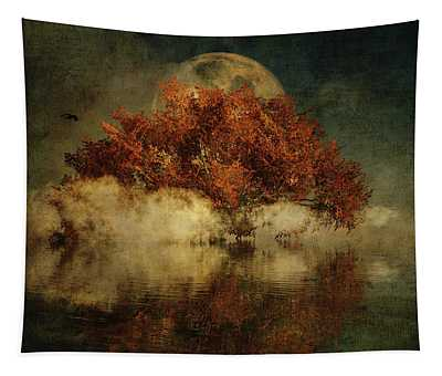 Tapestry featuring the digital art Giant Oak And Full Moon by Jan Keteleer