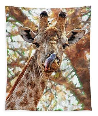 Giraffe Says Yum Tapestry