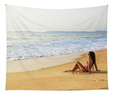Girl In The Beach Tapestry