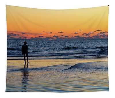 Girl On A Sandbar Tapestry