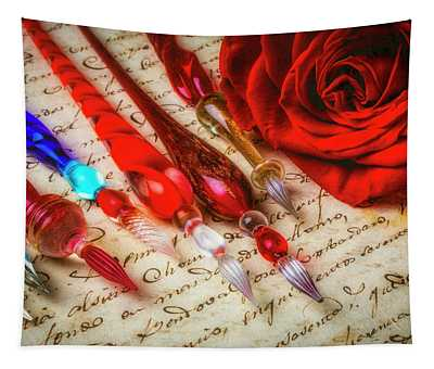 Glass Pens And Red Rosa Tapestry