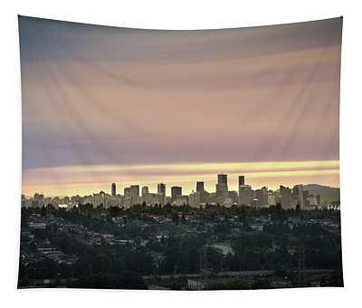 Gloden Sky On Vancouver Tapestry