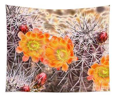 Glowing Cactus Flowers Tapestry