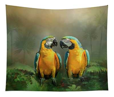 Gold And Blue Macaw Pair Tapestry