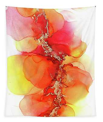 Gold And Red Petals Abstract Painting Tapestry