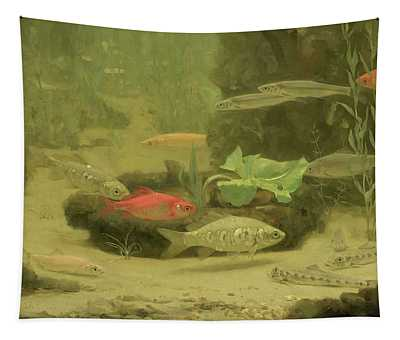 Gold And Silverfish In An Aquarium Tapestry