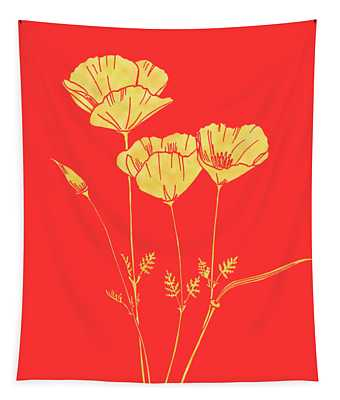 Golden California Poppy Tapestry