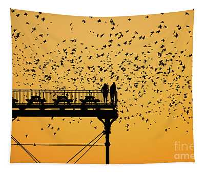 Golden Hour Starlings Over Aberyswyth Pier Tapestry