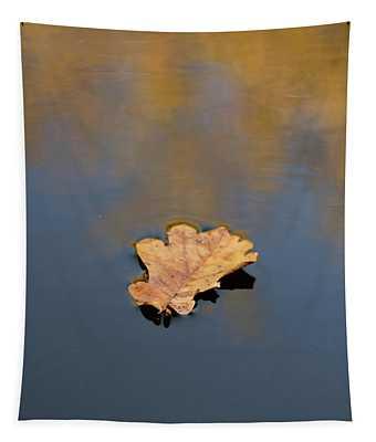 Golden Leaf On Water Tapestry