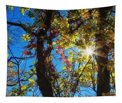 Golden Leaves And Sunburst Tapestry