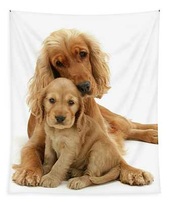 Golden Mother And Pup Tapestry