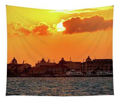 Golden Sky In Cancun Tapestry