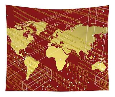 Golden Worlmap Over Tech And Redish Background. Tapestry