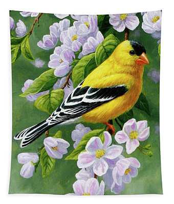 Male American Goldfinch And Apple Blossoms Tapestry
