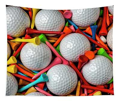 Golf Balls And Colorful Tees Tapestry