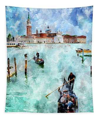 Gondola Rides And San Giorgio Di Maggiore In Venice Tapestry