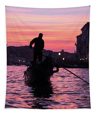 Gondolier At Sunset Tapestry