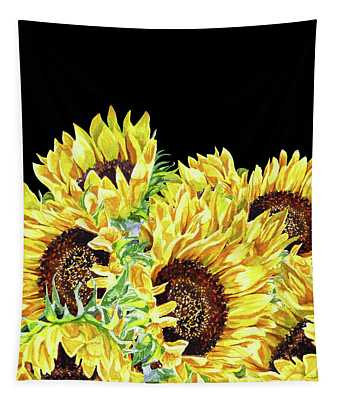 Graceful Contrast Watercolor Sunflowers Tapestry