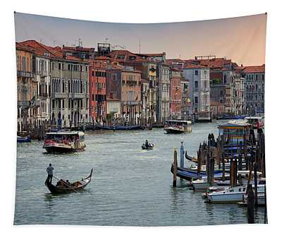 Grand Canal Gondolier Venice Italy Sunset Tapestry