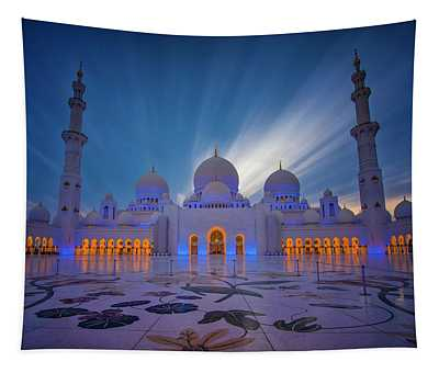 Dubai Skyline Photographs Wall Tapestries