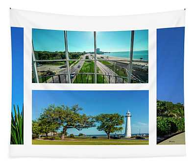 Grand Old Lighthouse Biloxi Ms Collage A1a Tapestry