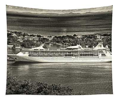 Grandeur Of The Seas Docked At Castries, St. Lucia Tapestry