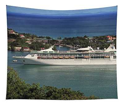 Grandeur Of The Seas In Castries, St. Lucia Tapestry