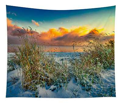 Grass And Snow Sunrise Tapestry